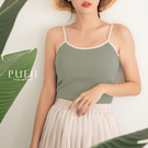 PUFII-背心 撞色邊細肩帶背心(胸墊可拆)- 0709 現+預 夏【CP18853】