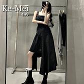 克妹Ke-Mei【ZT65419】BLACK設計感軍風不規則抽繩中長洋裝