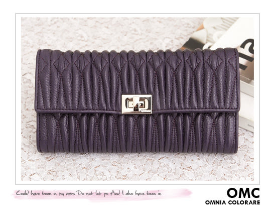 OMC - 專櫃立體抓皺質感真皮長夾 - 氣質紫