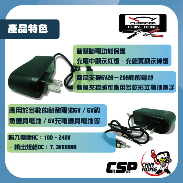 台灣製 6V800mmA 全自動充電器