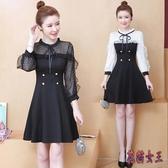 OL洋裝 微胖女孩穿搭胖妹妹顯瘦連身裙洋氣寬鬆遮肚時髦新款A字短裙 XN8140【花貓女王】