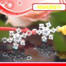 銀鏡DIY S925純銀材料配件/晶閃水鑽夢幻聖誕雪花造型墜飾(雙圈)~適合手作蠶絲蠟線/幸運繩(非合金)