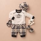 【金安德森】秋冬新生兒多件組禮盒-聖誕熊長兔裝-卡色