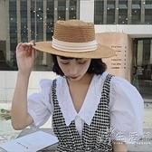 網紅ins夏出游度假沙灘遮陽防曬復古英倫女草帽法式平沿平頂禮帽 小時光生活館