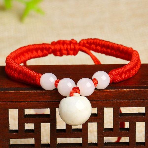 本命年紅繩手鏈玉石平安扣葫蘆福鎖開運手繩男女情侶飾品手飾禮物