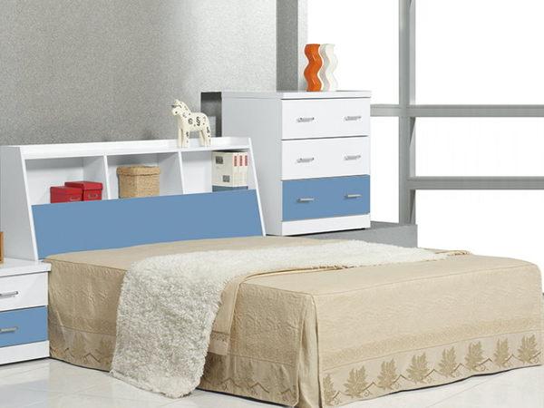 床架 床頭箱.床頭片 CV-177-1 青少年藍白5尺書架型床頭 (不含床底)【大眾家居舘】