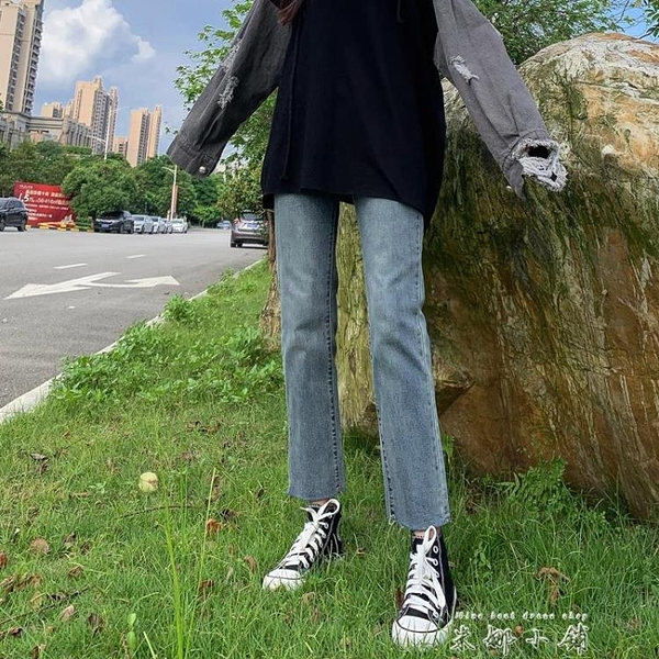 牛仔褲女2021夏季高腰泫雅新款百搭顯高寬鬆闊腿九分直筒褲子