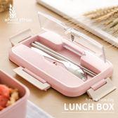 飯盒微波爐加熱便當盒塑料密封保鮮小麥秸稈分隔耐熱學生上班餐盒      蜜拉貝爾