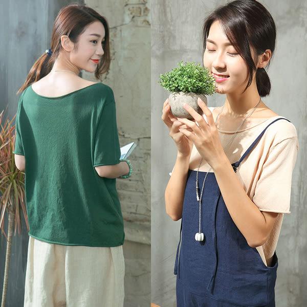 簡約亞麻針織短T恤寬鬆5色可選/設計家