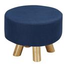 【森可家居】強尼藍色圓凳 10ZX251-12 麻布椅凳 實木腳 北歐風