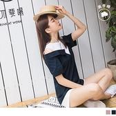 《AB12754》小性感露肩襯衫造型假兩件高含棉長版上衣 OrangeBear