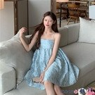熱賣抹胸洋裝 法式性感浮雕提花抹胸藍色吊帶連身裙子女夏蓬蓬娃娃a字小黑短裙【618 狂歡】