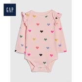 Gap女嬰兒印花荷葉邊長袖圓領包屁衣525785-淺粉色