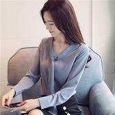 現貨出清 雪紡衫 9322#韓版V領飄帶雪紡衫女百搭顯瘦蝴蝶結藍襯衫上衣10-18