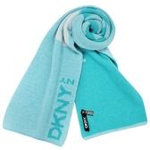 DKNY 素面大字母LOGO混羊毛圍巾(藍色)380000-1