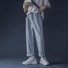 牛仔褲男士直筒寬鬆2021夏季薄款韓版ins潮流百搭淺藍色寬管褲子 夢幻小鎮