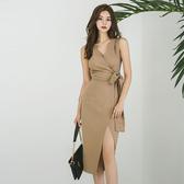 歐媛韓版 新款夏季連身裙女氣質洋裝 V領無袖修身繫帶中長款開叉包臀裙 中秋降價