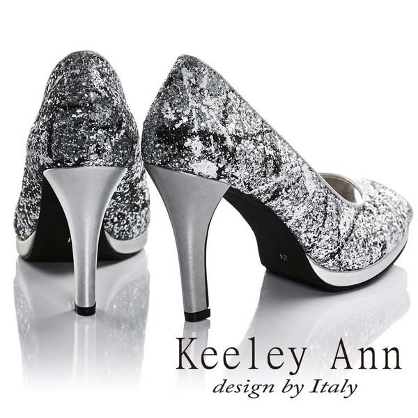 ★2016秋冬★Keeley Ann獨特魅力~舞動潑灑水彩質感高跟魚口鞋(銀色)