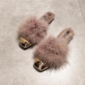 秋平底毛毛拖鞋金屬頭平跟防滑外穿包頭半拖晚晚穆勒拖鞋