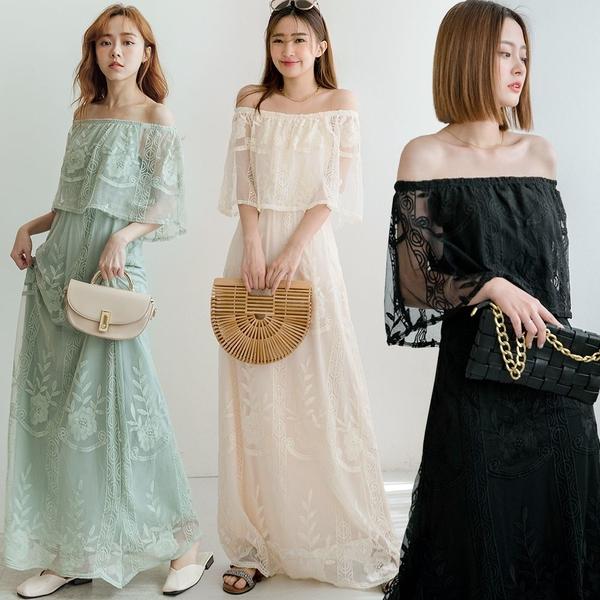 現貨-MIUSTAR 唯美浪漫一字領蕾絲網紗洋裝(共4色)【NJ1874】