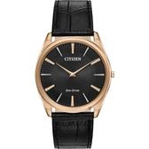 CITIZEN 星辰 Eco-Drive 光動能紳士薄型手錶-玫瑰金框x黑/38mm AR3073-06E