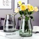 花瓶鮮花玻璃花瓶北歐現代金邊透明水養插花寬口矮胖大口創意簡約擺件YYS 快速出貨