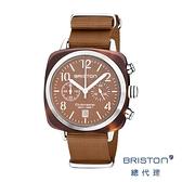 BRISTON 手工方糖錶 焦糖色 銀框 時尚百搭 禮物首選