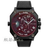 POLICE 義式潮流 冷冽科技風雙時區日期腕錶/皮帶 黑
