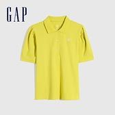 Gap女裝 Logo亮色泡泡袖POLO衫 740757-黃色