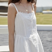 夏天顯瘦長裙少女風山本日繫遮腹連身裙冷淡風輕熟度假吊帶裙花邊 韓國時尚週