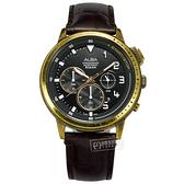 ALBA / VD53-X340U.AT3G40X1 / 紳士英倫 三眼計時 仿舊錶殼 防水100米 壓紋真皮手錶 黑x金框x紅褐 45mm