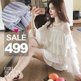 SISI ~L7039 ~甜美夢幻透視網紗拼接修身寬鬆層次百褶木耳邊長袖雪紡衫上衣