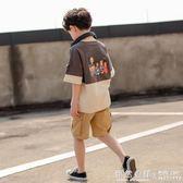 童裝男童夏季短袖套裝洋氣兒童夏裝中大童男孩帥氣兩件套 ◣怦然心動◥