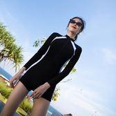 泳衣女專業運動連體保守顯瘦潛水長袖泳裝【南風小舖】