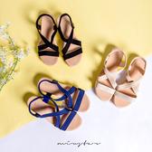 現貨-MIUSTAR 夏日實搭織布腳背交叉後鬆緊小坡跟涼鞋(共3色,36-40)【NE2146ZP】