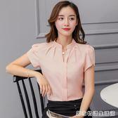 夏季新款韓版修身大碼短袖休閒白色雪紡襯衫女職業裝工作服  居家物語