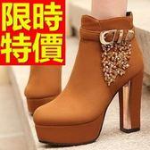 真皮短靴-俏麗時尚設計高跟女靴子3色62d39【巴黎精品】