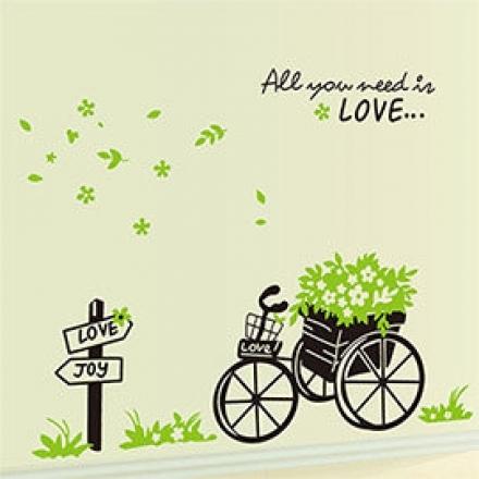 壁貼 DIY創意無痕 牆貼 貼紙【半島良品】-綠葉三輪車_AY722