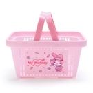 小禮堂 美樂蒂 塑膠手提置物籃 購物提籃 浴室收納籃 瓶罐架 (粉 服務生) 4550337-73890