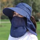 遮陽帽 帶防護防曬帽子女夏天騎車遮臉面罩...