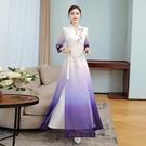 2021夏季新款原創設計中國風女裝復古改良漢服印花連衣裙禮服長裙