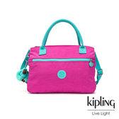Kipling 糖果色調螢光粉x薄荷綠撞色梯形前袋公事包-SEVRINE