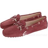 TOD'S Gommino 新版字母麂皮休閒豆豆鞋(女鞋/紅梨色) 1830498-A8