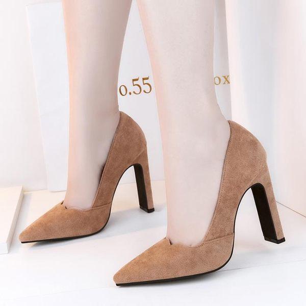 尖頭超高跟鞋絨性感百搭黑色粗跟淺口職業單鞋10cm K-shoes