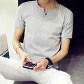 男士短袖t恤2018新款修身白色V領潮流上衣服 YF165【男人與流行】
