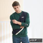 【JEEP】修身拼接長袖TEE (橄欖綠)