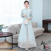兩件套上衣 裙子 茶服女禪意文藝套裝 中國風連身裙旗袍改良式唐裝中式上衣套裝