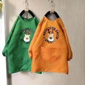 防水罩衣  兒童畫畫防水罩衣長款中大童幼兒園繪畫衣長袖圍裙定制