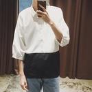 找到自己 MD 時尚 男 潮 休閒 百搭 簡約豎條紋拼接 七分袖 襯衫 長袖襯衫 條紋襯衫