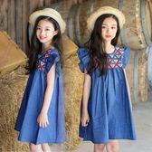 夏季款女童連衣裙中大童純棉牛仔飛袖裙子無袖公主裙 LQ6055『夢幻家居』